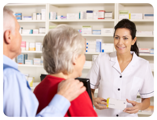 Pharmacist and two elderly