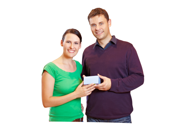 men and women holding a box