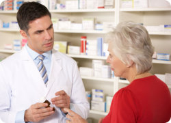 a customer and a pharmacist